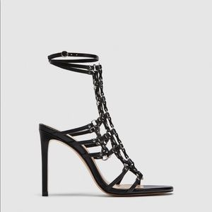Zara leather sandals with studs